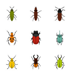 insect icons set flat style vector image