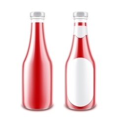 Set of Red Tomato Bottle without with Round Label vector image vector image