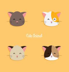 cat cartoon faces vector image vector image