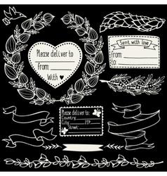 floral doodle design elements set vector image vector image