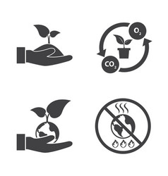 save the world ecology icons set vector image