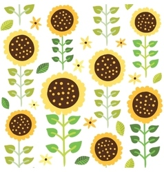 Sunflower seamless pattern vector image