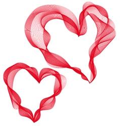 two abstract ribbon hearts vector image