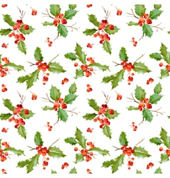 Vintage Holly Berry Background Seamless Christmas vector image vector image
