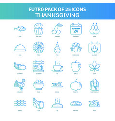 25 green and blue futuro thanksgiving icon pack vector
