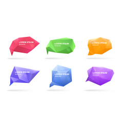 abstract polygonal speech bubbles set 3d figures vector image