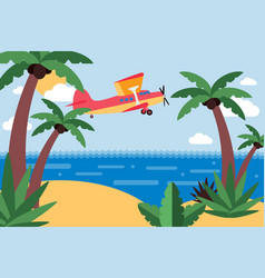 airplane fly to tropical island trip across ocean vector image