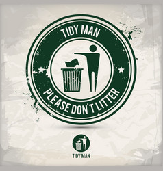 alternative tidy man stamp vector image