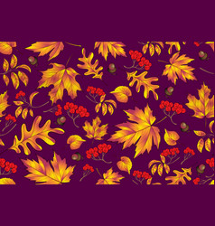 autumn seamless pattern with leaf background vector image