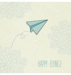 Background with a paper airplane and original vector