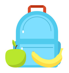 backpack and lunch icon flat style vector image