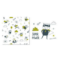 Bear superhero surface design and seamless vector