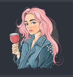 Beautiful girl wearing a punk rocker jacket vector