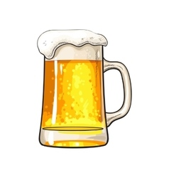 Big mug of cold beer with foam and bubbles vector image