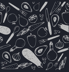 Black and white seamless food pattern vector