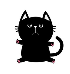 black cat icon cute funny cartoon grumpy vector image