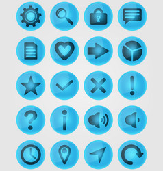 blue glass icons vector image