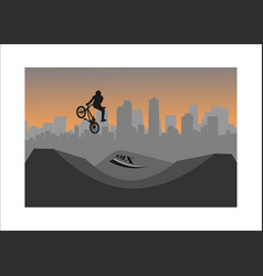bmx free style paper cut vector image