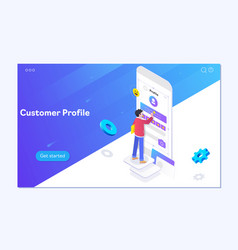 boy builds a customer profile in a mobile vector image