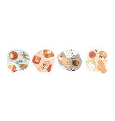 breakfast types set morning vector image