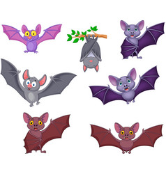 Cartoon bats collection set vector