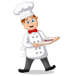 Cartoon Chef holding italian original Pizza vector