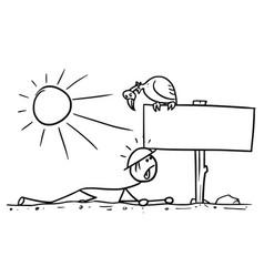 Cartoon man crawling in desert found a vector