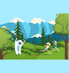 Character man woman running away from bigfoot in vector