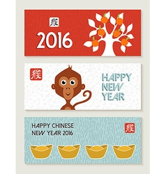 Chinese New Year 2016 monkey banner set cute vector