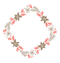 Christmas hand drawn floral wreath winter design vector