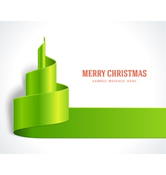 Christmas tree green from ribbon background vector image