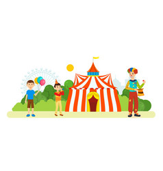 Clown entertains children around circus vector