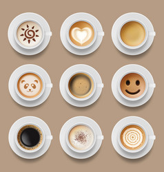 coffee cups cappuccino latte american top view vector image
