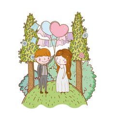 Couple marriage cute cartoon vector