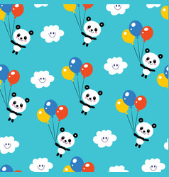 Cute baby panda bears seamless pattern vector