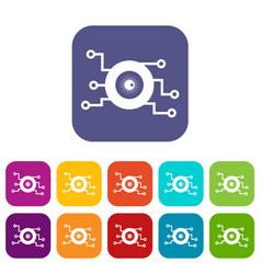 cyber eye symbol icons set vector image