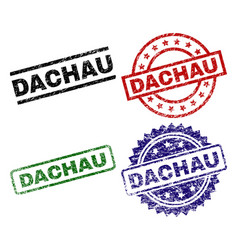 Damaged textured dachau seal stamps vector