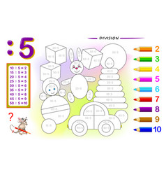 Division number 5 math exercises for kids vector