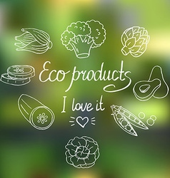 Eco background with vegetables vector image
