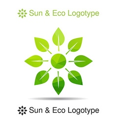 Ecology logotype icon and nature symbol sun from vector