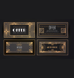 elegant vintage card templates set in art deco vector image