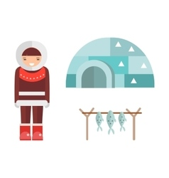 Eskimo house and people vector