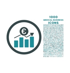 Euro Business Chart Rounded Icon with 1000 Bonus vector image