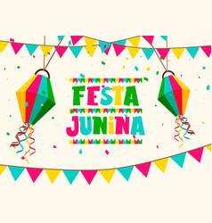 Festa junina card colorful paper balloons vector