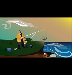 fisherman father and son on seaside are fishing vector image