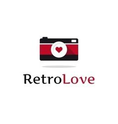 flat retro photo camera logotype vector image