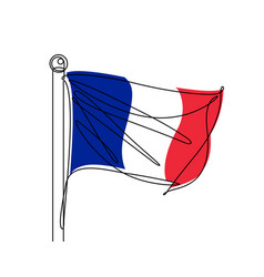 French flag continuous line vector