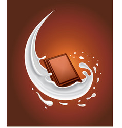 Fresh milk splash with piece of chocolate vector