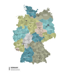 germany higt detailed map with subdivisions vector image