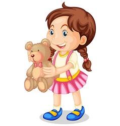 Girl holding brown teddy bear vector